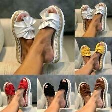 Ladies Womens Bow Studded Platform Platform Slip On Heel Wedge Summer Sandals