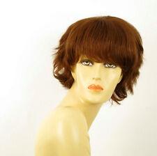 perruque femme 100% cheveux naturel châtain clair cuivré ref AUDE 30
