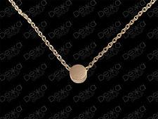 18K Rose Gold GP Necklace Mini Circle Disc Coin Dot Tiny Titanium Charm Pendant
