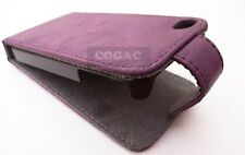 FUNDA CARCASA PIEL FORCELL PARA IPHONE 4 4S VIOLETA PROTECTOR CUERO LEATHER