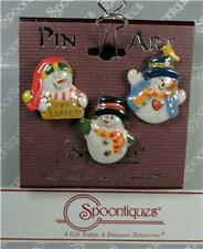 Spoontiques Pin Art NEW 3 pc Snowmen Pins