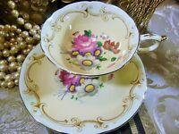 PARAGON  TEA CUP AND SAUCER PEACH PINK ROSE & FLORAL SCROLL TRIM GOLD TRIM 1939