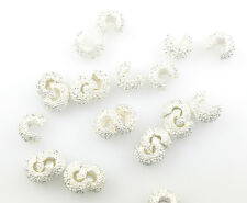 100 SILVER PLATED STARDUST CRIMP BEAD COVERS 4MM