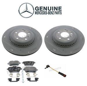 For Mercedes W222 S550 Rear Disc Brake Rotors and Pads & Sensor Genuine KIT
