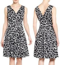 Anne Klein Black/Optic White Paisley Stretch Fit & Flare Dress 10608706 - $119