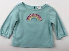Gymboree Spring Rainbow Baby Girl 6-12 M Long Sleeve Shirt Floral Rainbow Aqua