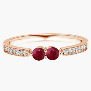Vintage Inspired Round Ruby Gemstone Two Stone Ring 9k Rose Gold