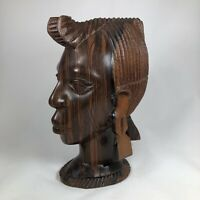 Vintage African Tribal Head Bust - Woman Hand Carved Wood Nigerian Art GORGEOUS!
