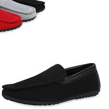 Herren Slippers Mokassins Strick-Optik Profil-Sohle Bequeme Schuhe 899986 Top