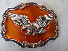 """Large 4"""" Mexican Metal Biker Belt Buckle Eagle Wing Orange Black"""