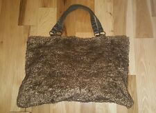 Pottery Barn Teen Brown Faux Fur XL Large Weekender Overnight Tote Bag PBT
