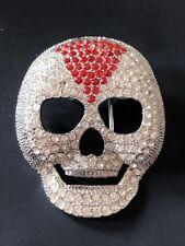 Skeleton Punk Rock Belt Buckles Red White Rhinestones Iced Skull
