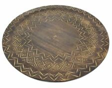 Decorative Wooden Round Display Tray Plate ~ African Design Serving Platter