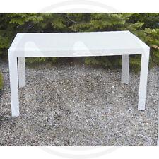 Tavolo effetto rattan in resina rettangolare urano bianco 140x80x72 h cm