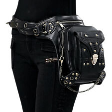 Steampunk Rivet Waist Bag Gothic Motorcycle Leather Shoulder Bag Fanny Pack
