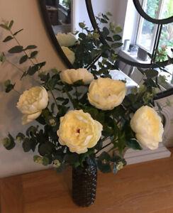 Artificial Silk Flowers 5 Cream Peony Long Stems Home Decor