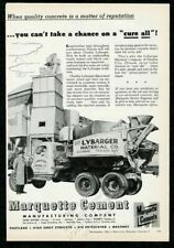 1953 cement mixer truck photo Marquette Cement vintage trade print ad