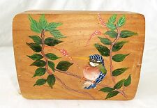 1980s Haitian Wooden Covered Box w. Painted Bird Motif (Stea)