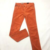 AG Adriano Goldschmied Women's Orange Corduroy Stevie Slim Straight Pants Sz 28