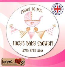 BLG06 48x40mm Baby Shower Birth Girl Personalised Christening Sticker/Label/Card