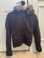 Abercrombie & Fitch Womens Faux Fur Lined Jacket size Small with hood