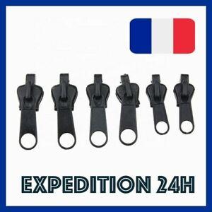 Kit de 6 zippers réparation fermeture éclair Rapide Noir Zip  Vendeur Français