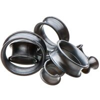 PAIR - THICK WALL GUNMETAL GRAY SILICONE EAR TUNNELS PLUGS DOUBLE FLARED GAUGES