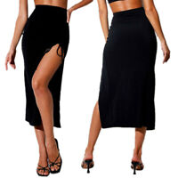 Women Ruched High Waist Side Split Skirt Sexy Drawstring Lace-up Bodycon Skirt