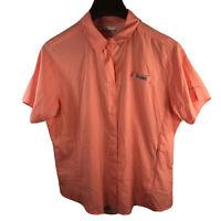 Columbia PFG Womens Omni Shade Shirt Snap Button Vented Fishing Pink Peach Sz XL
