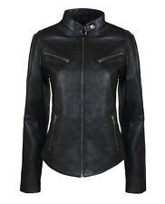 Ladies Real Leather Soft Black Fitted Vintage Style Jacket Size UK6- UK18