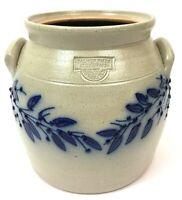 "Salmon Falls Stoneware Crock 6.75"" ovoid crock handles cobalt vines 2007 Gift"