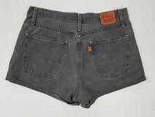 Levi's Washed Black Grey High Rise Waist Denim Shorts Size 32 Orange Tab