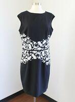 NWT $139 Lauren Ralph Lauren Black White Floral Ombre Print Dress Size 14 Office