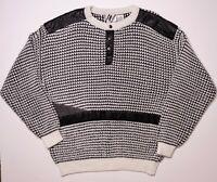 Vintage 1980s TRUTUS BIANCARLA Knit Sweater Leather Trim White Black Large XL