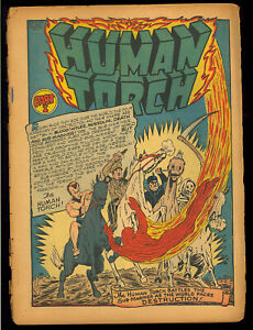 Human Torch #5 Coverless o/w Complete Classic Sub-Mariner WWII Story Timely 1941