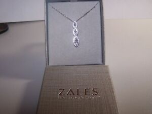 NEW ZALE'S JEWELERS MARQUIS STYLE SAPPHIRES TRIPLE DROP STERLING PENDANT&CHAIN