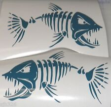 "(2) Skeleton Fish Large Vinyl Decals for  Boat  -  Fishing  Dark Teal 11"" x 18"""
