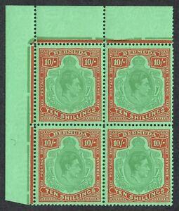 Bermuda 1938 SG119e 10/- Green & Vermilion P13 Corner Block Superb U/M/M
