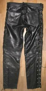 """"""" Ashy """" Men's Leather Jeans/Lace-Up Trousers IN Black Approx. W33 """" / L32 """""""