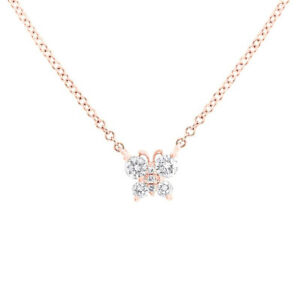 0.19CT 14k Rose Gold Natural Round Cut Diamond Petite Butterfly Pendant Necklace