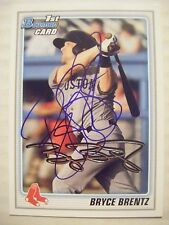 BRYCE BRENTZ signed RC RED SOX 2010 Bowman Draft baseball card AUTO Autographed