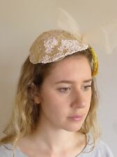 Vintage true 1940s tilt hat toque lace gold cream net gold tassle very good
