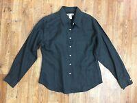 Eddie Bauer Women's Black Semi Sheer Linen Long Sleeve Button Up Shirt! Size M