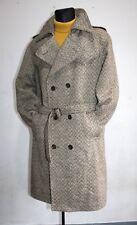 Trapunta Vintage 70S da uomo art. Polonia MARRONE BEIGE CAPPOTTO LANA Loden Cappotto Tweed Retrò Taglia L