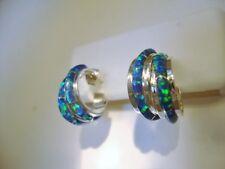 BLACK with Blue green fire FIRE OPAL Post Silver Earrings, dbl Hoop! Kingsman