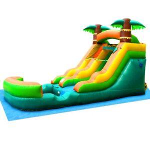 Inflatable Water Slide Pool With Blower 12'H Kids Tropical Wet Dry Slide & Tarp