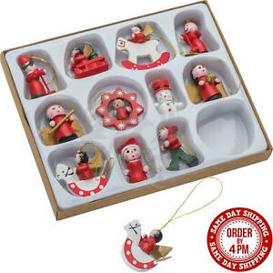 12 Traditional Wooden Christmas Tree Hanging Decorations Ornament Xmas Figurines