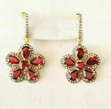Scintillating Handcrafted Diamond & Garnet Sterling Silver Earring