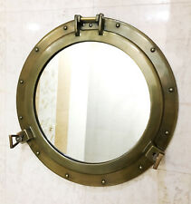 "20"" Antique Canal Boat Porthole-Window Ship Round Mirror Home Wall Decor"