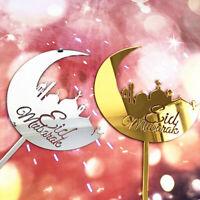 1pc Eid Mubarak Acrylic Cake Topper Gold Silver Cupcake Topper Baking Decoration